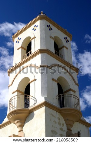 The Ojai post office tower with a nice blue sky and clouds - stock photo