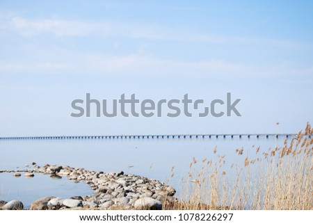 The Oland Bridge crossing a strait in the Baltic Sea and connects the island Oland with mainland Sweden