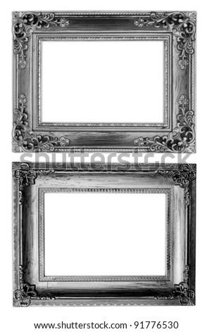 The Old antique frame on the white background - stock photo