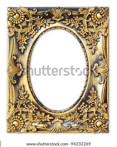 The Old antique gold frame on the white background