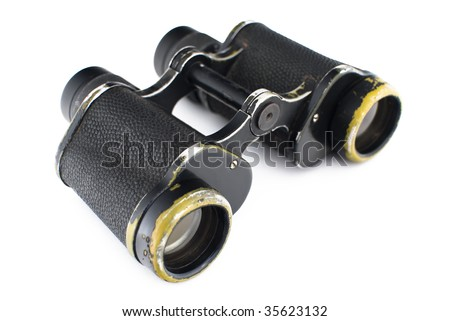 The old army binoculars on a white background