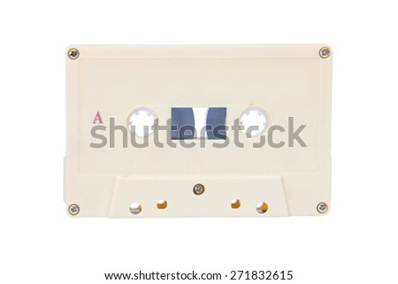 The Old audio tape cassette on white background. - stock photo