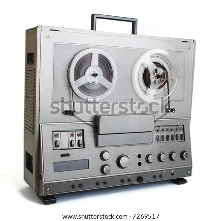 The old audio tape recorder. - stock photo