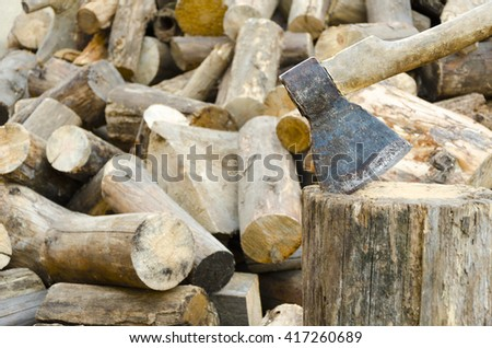 The old axe for chop wood