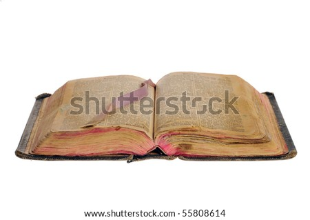 The old bible in German 19 centuries - stock photo