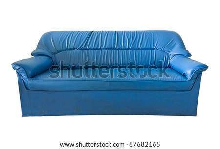 the old blue leather sofa isolated on white - stock photo