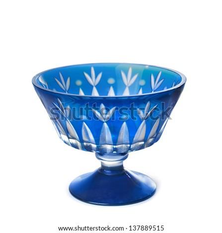 The old blue vase isolated on white background - stock photo