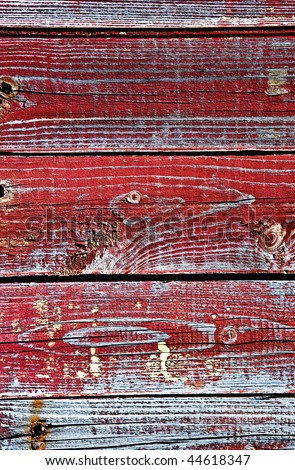 The old boards painted in red color - stock photo