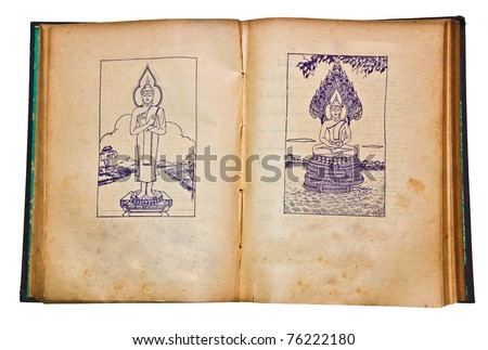 The Old book with vintage line of buddha status. This is traditional and generic style in Thailand. No any trademark or restrict matter in this photo. - stock photo