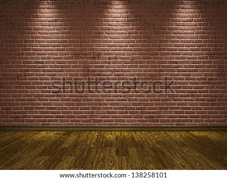 The old brick cement wall and  wooden floor