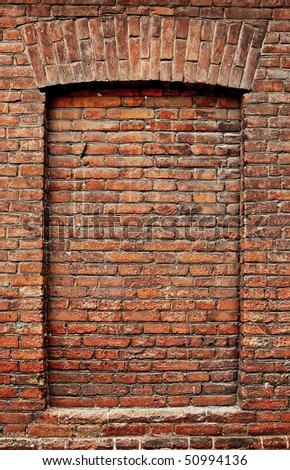 The old brickwork. Windows. Background. - stock photo