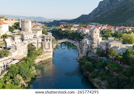 The Old Bridge in Mostar, Bosnia and Herzegovina - stock photo