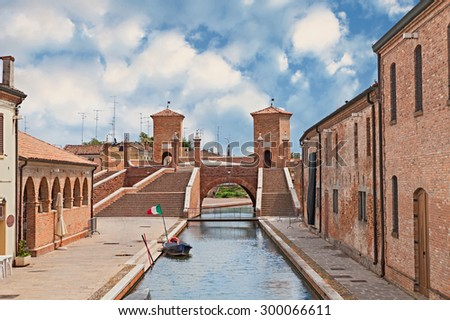 the old bridge Trepponti, a famous five-way bridge in Comacchio, Ferrara, Italy