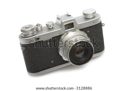 The old camera on a white background