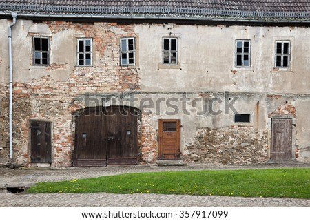 the old castle courtyard in Strehla as historical ruins - stock photo