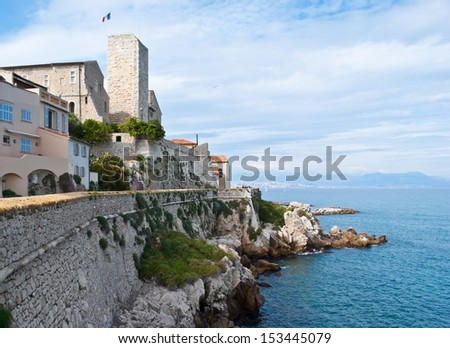 The old castle now is used as museum of Pablo Picasso, located in the small town of Antibes, between Cannes and Nice, France. - stock photo