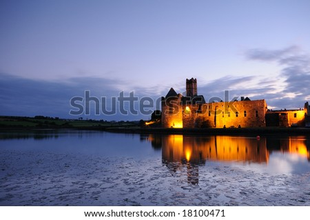 The old castle overnight - stock photo