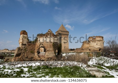 The old castle ruins - stock photo