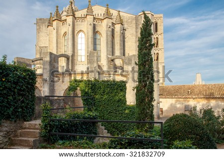 The old Cathedral of St. Mary in Girona. Catalonia. Spain.