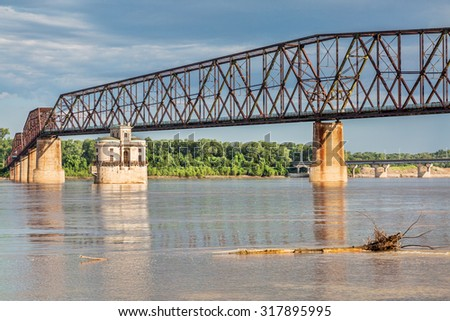 The Old Chain of Rocks bridge and historic water (intake) tower on the Mississippi River near St Louis - stock photo