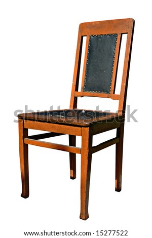 The old chair upholstered by an oilcloth. - stock photo