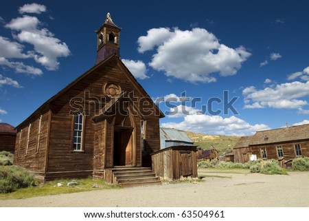 The Old Church The old Methodist church in the ghost town of Bodie, California. Horizontal. - stock photo