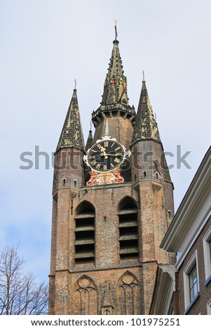 The old church tower in Delft. Netherlands