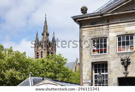 The Old Church Tower (1326) in the city of Delft in the province of South-Holland, the Netherlands - stock photo