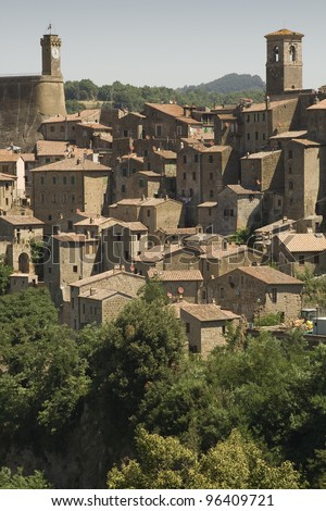 The old city A view of a pintoresque village in Tuscany (Italy) - stock photo