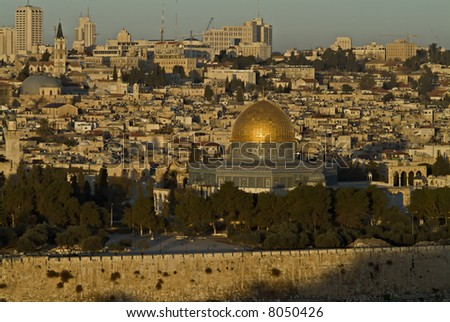 The Old City of Jerusalem At Down from Mount Olives with the Dome Of The Rock