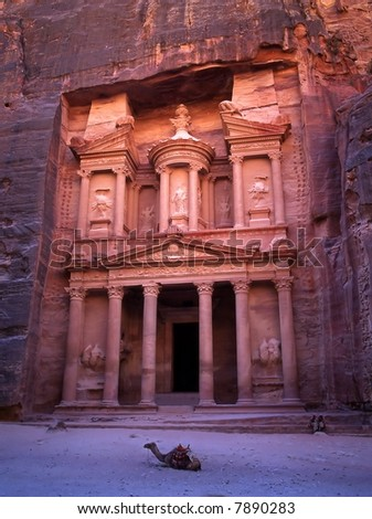 The old city of Petra in Jordan.It was carved out the rocks. It is now an UNESCO World Heritage site. - stock photo