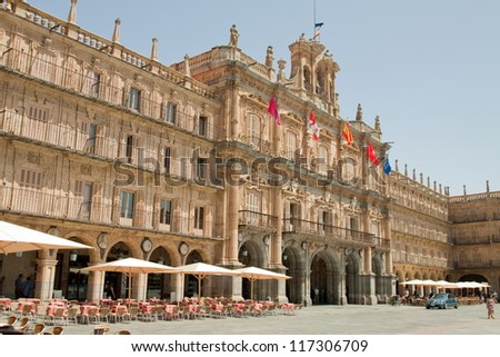 The old city of Salamanca was declared a UNESCO World Heritage site in 1988. La Plaza Mayor is of Baroque style and was designed by architects Alberto and Nicolas Churriguera. - stock photo