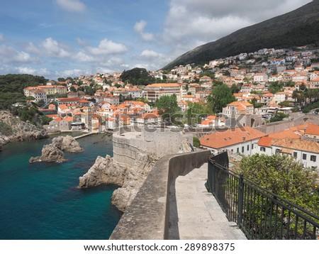 The Old City Wall and Coastline, of Dubrovnik, Croatia - stock photo