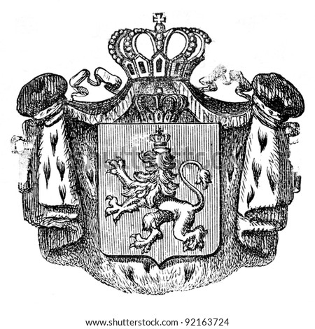 "The old coat of arms of Bulgaria. Engraving by Alwin Zschiesche published on ""Illustrierts Briefmarken Album"", Leipzig, Germany, 1885. - stock photo"