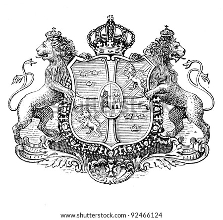 "The old coat of arms of Sweden. Engraving by Alwin Zschiesche published on ""Illustrierts Briefmarken Album"", Leipzig, Germany, 1885. - stock photo"