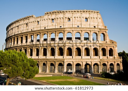 the old colosseum in the antic rome - stock photo