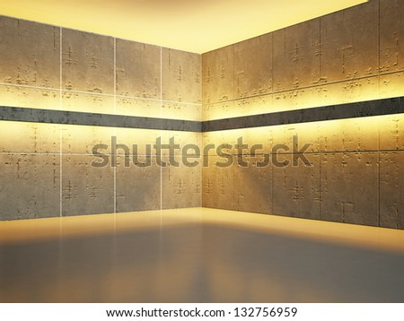 The old concrete wall with bright lighting - stock photo