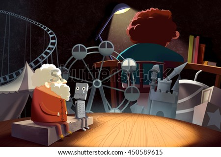 The Old Craftsman Looking into his Younger days, Accompanied by his Old Robot Friend. A Little Sad. Creative Idea, Innovative art, Concept Illustration, Greeting Card Background, Cartoon Style Artwork - stock photo