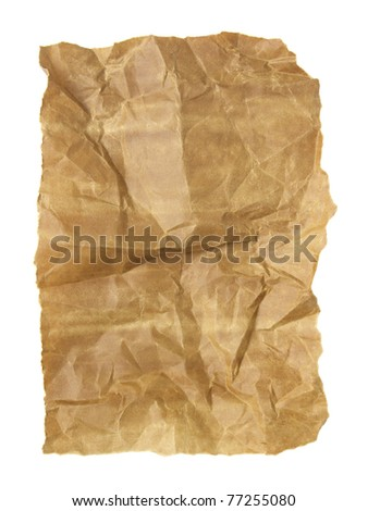 the old crumpled paper isolated on white - stock photo