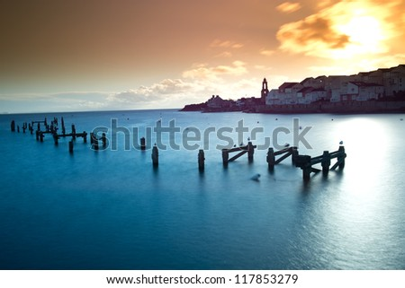 The old, derelict pier in Swanage, Dorset. - stock photo