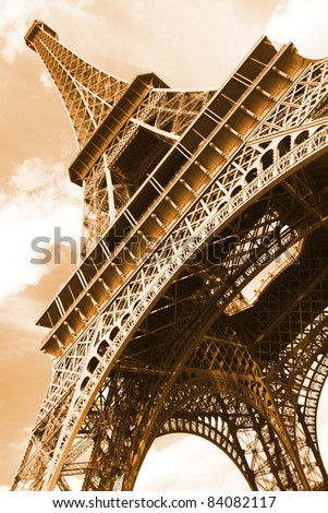 The Old fashioned photo of Eiffel tower. Paris. France. - stock photo