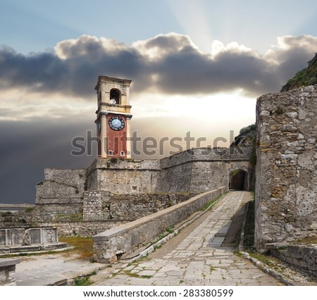 The Old Fort and Clock Tower in Corfu, Greece - stock photo