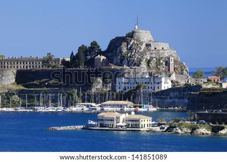 The Old Fort and Marina Corfu, Greece - stock photo