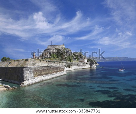 The Old Fort in Corfu, Greece on a Beautiful Cloudy Day - stock photo