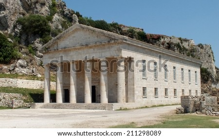 The old fort in Corfu Town, Greece, the Church of St George, built by the British in 1840 designed to look like an ancient temple. - stock photo