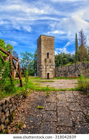 The old fortress tower in Montecatini Alto. - stock photo