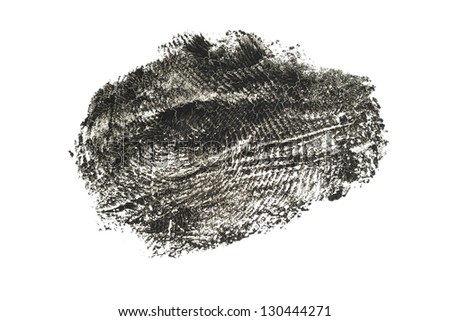 The old greased cracked black print of a human finger isolated macro concept - stock photo