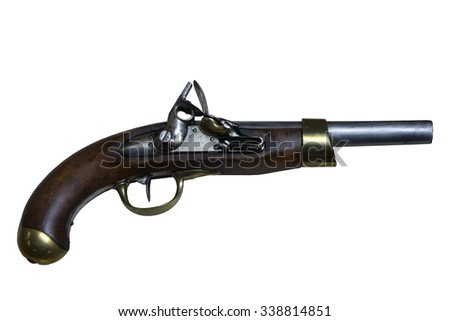 The old gun on the white background, isolated - stock photo
