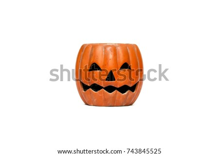 The old Halloween Pumpkin isolated on white background with clipping path