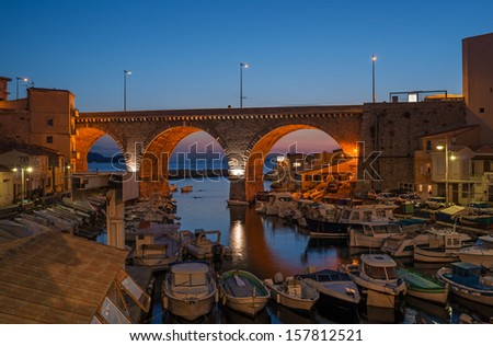 "The old harbor ""Vallon des Auffes"" in Marseille in South France after sunset - stock photo"